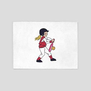 Softball Girl 5'x7'Area Rug
