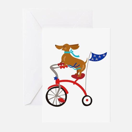 Dachshund On Bike Greeting Cards