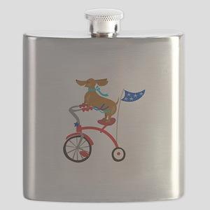 Dachshund On Bike Flask