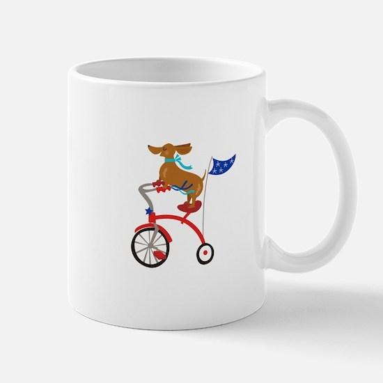 Dachshund On Bike Mugs