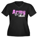 Army Aunt Women's Plus Size V-Neck Dark T-Shirt