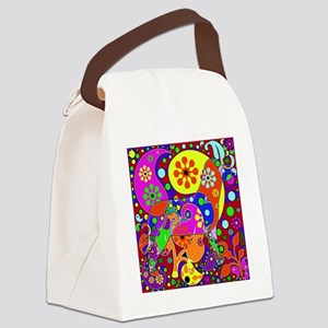 Colorful Retro Paisley Dog Canvas Lunch Bag