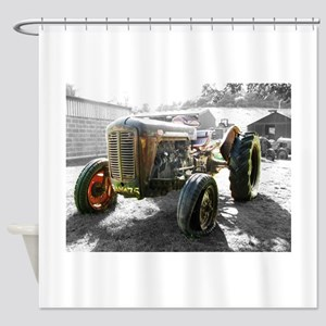 Old Tractor farm machine Shower Curtain
