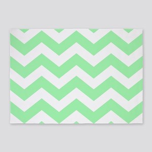 Mint Green Zigzags 5'x7'Area Rug