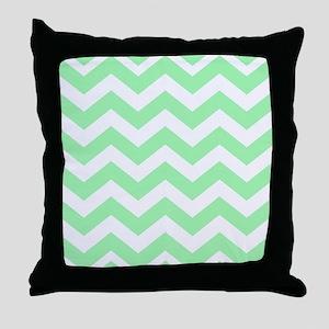 Mint Green Zigzags Throw Pillow