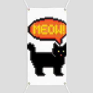 8-Bit Cat Meowing Banner