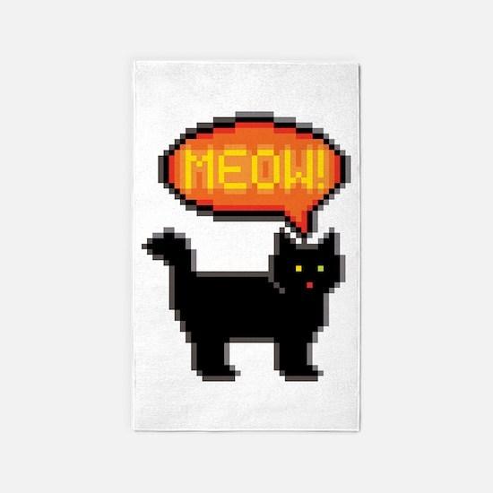 8-Bit Cat Meowing Area Rug