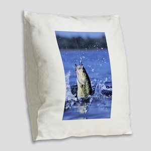 fishing Burlap Throw Pillow