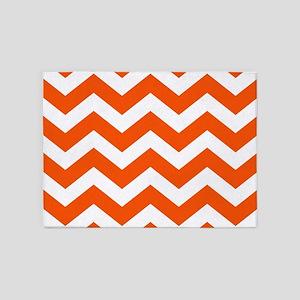 Classic Orange Zigzags 5'x7'Area Rug