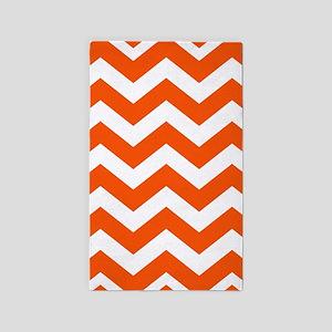 Classic Orange Zigzags Area Rug