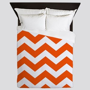 Classic Orange Zigzags Queen Duvet