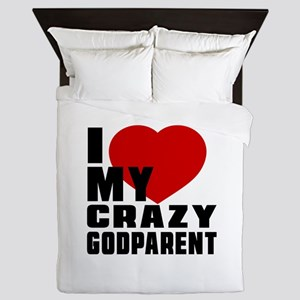 I Love Godparent Queen Duvet