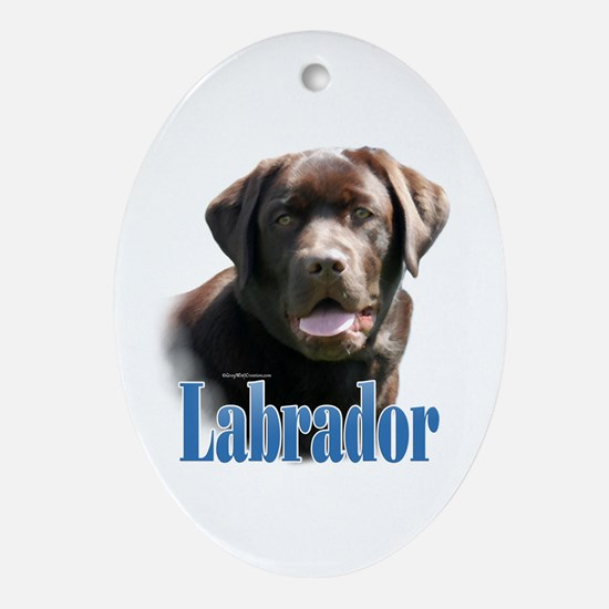 Lab(choco)Name Oval Ornament
