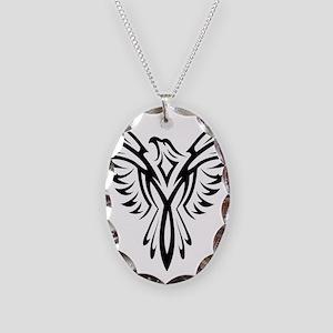 Tribal Phoenix Tattoo Bird Necklace Oval Charm