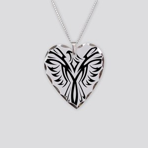 Tribal Phoenix Tattoo Bird Necklace Heart Charm
