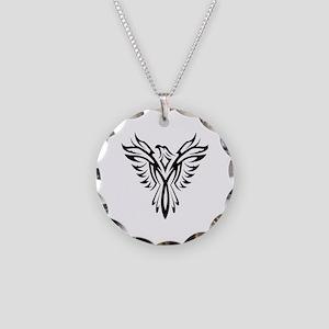 Tribal Phoenix Tattoo Bird Necklace Circle Charm