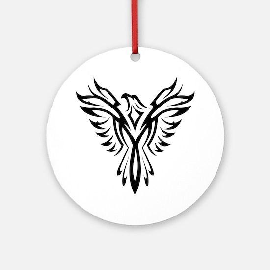 Tribal Phoenix Tattoo Bird Round Ornament