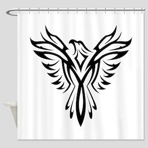 Tribal Phoenix Tattoo Bird Shower Curtain