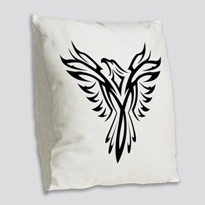 Tribal Phoenix Tattoo Bird Burlap Throw Pillow