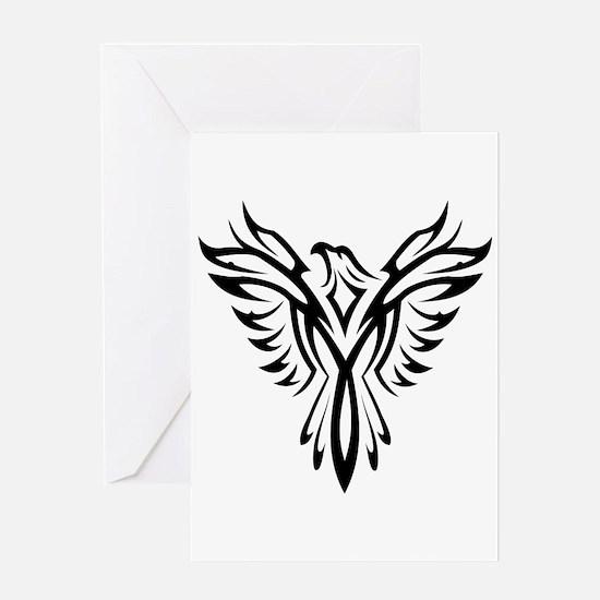 Tribal Phoenix Tattoo Bird Greeting Cards