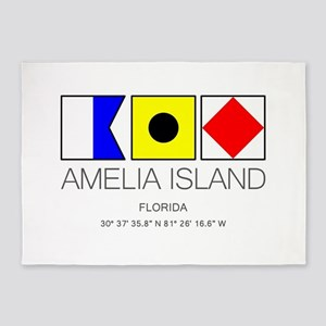 AMELIA ISLAND, Florida Nautical Fla 5'x7'Area Rug