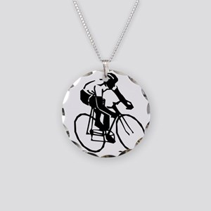Cyclist Necklace Circle Charm