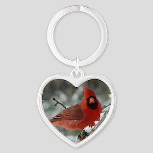 Cardinal Winter Heart Keychain