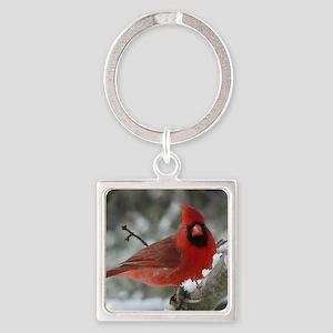 Cardinal Winter Square Keychain
