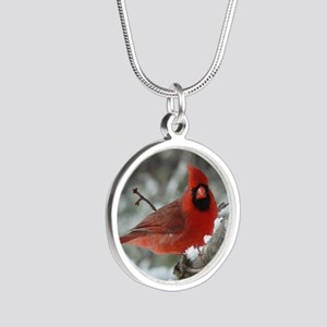 Cardinal Winter Silver Round Necklace