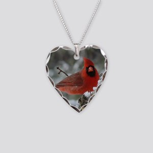 Cardinal Winter Necklace Heart Charm