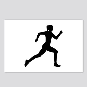 Running woman girl Postcards (Package of 8)