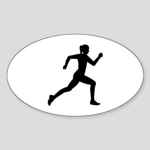 Running woman girl Sticker (Oval)