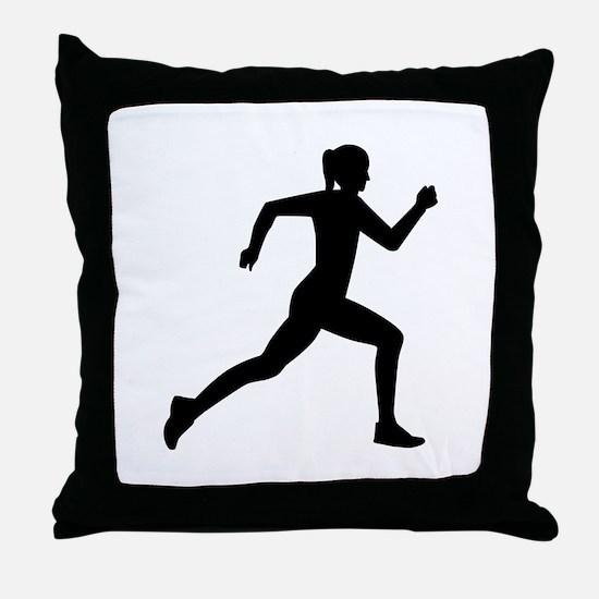 Running woman girl Throw Pillow