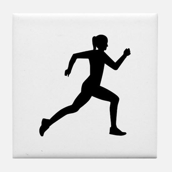 Running woman girl Tile Coaster