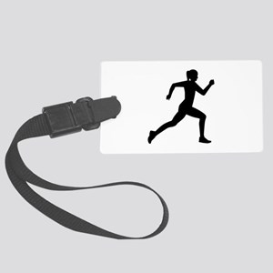 Running woman girl Large Luggage Tag