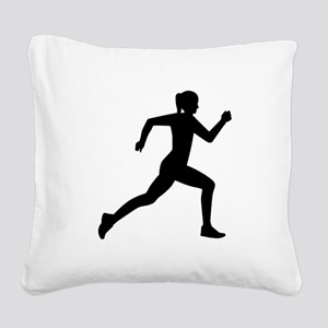Running woman girl Square Canvas Pillow