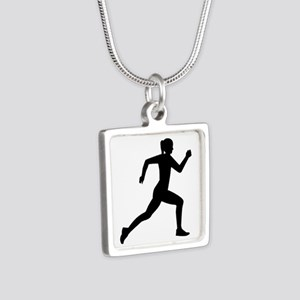 Running woman girl Silver Square Necklace