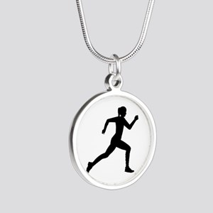 Running woman girl Silver Round Necklace