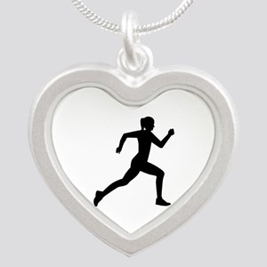 Running woman girl Silver Heart Necklace
