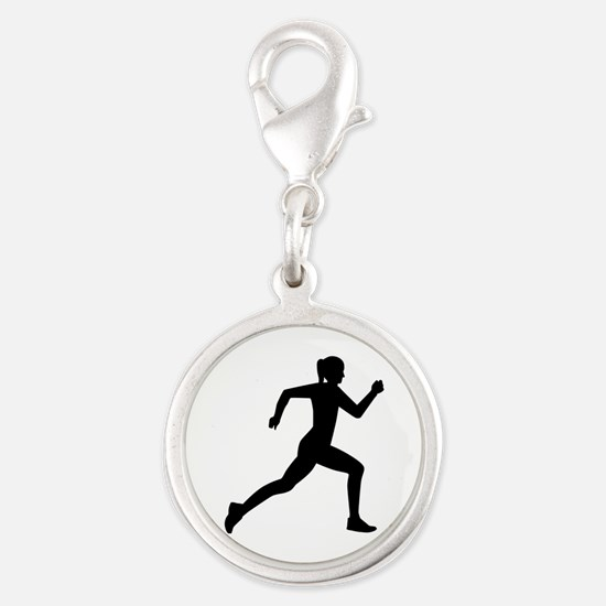 Running woman girl Silver Round Charm