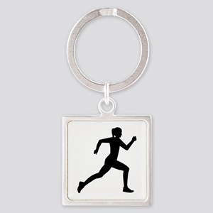 Running woman girl Square Keychain