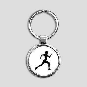 Running woman girl Round Keychain