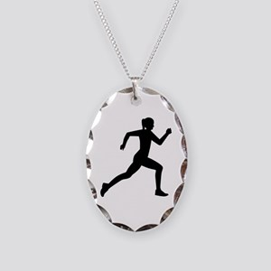 Running woman girl Necklace Oval Charm