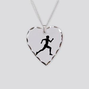 Running woman girl Necklace Heart Charm
