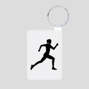 Running woman girl Aluminum Photo Keychain