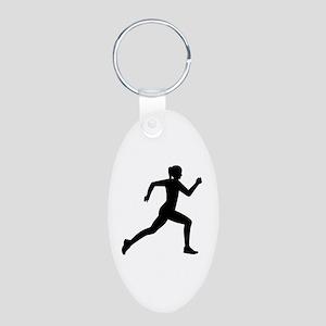 Running woman girl Aluminum Oval Keychain