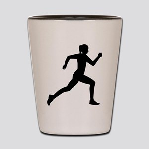 Running woman girl Shot Glass