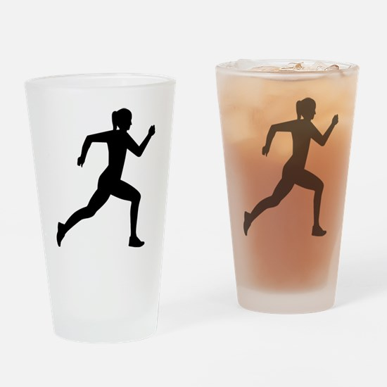 Running woman girl Drinking Glass