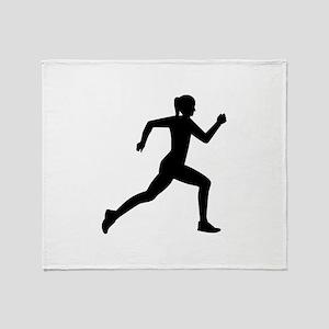 Running woman girl Throw Blanket