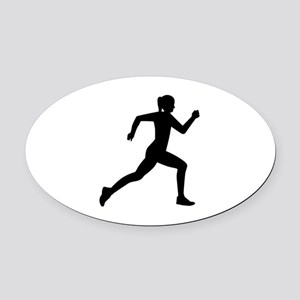 Running woman girl Oval Car Magnet